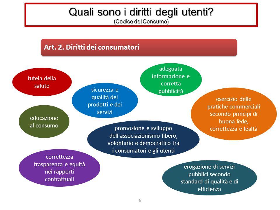 6 Art. 2. Diritti dei consumatori tutela della salute sicurezza e qualità dei prodotti e dei servizi correttezza trasparenza e equità nei rapporti con