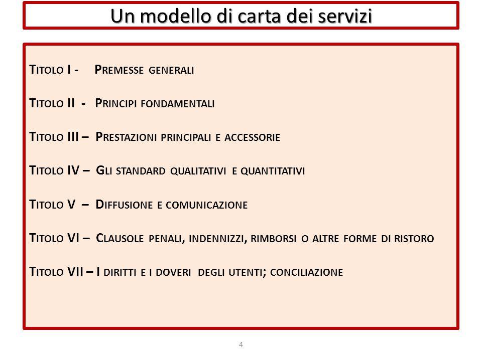 Un modello di carta dei servizi T ITOLO I - P REMESSE GENERALI T ITOLO II - P RINCIPI FONDAMENTALI T ITOLO III – P RESTAZIONI PRINCIPALI E ACCESSORIE