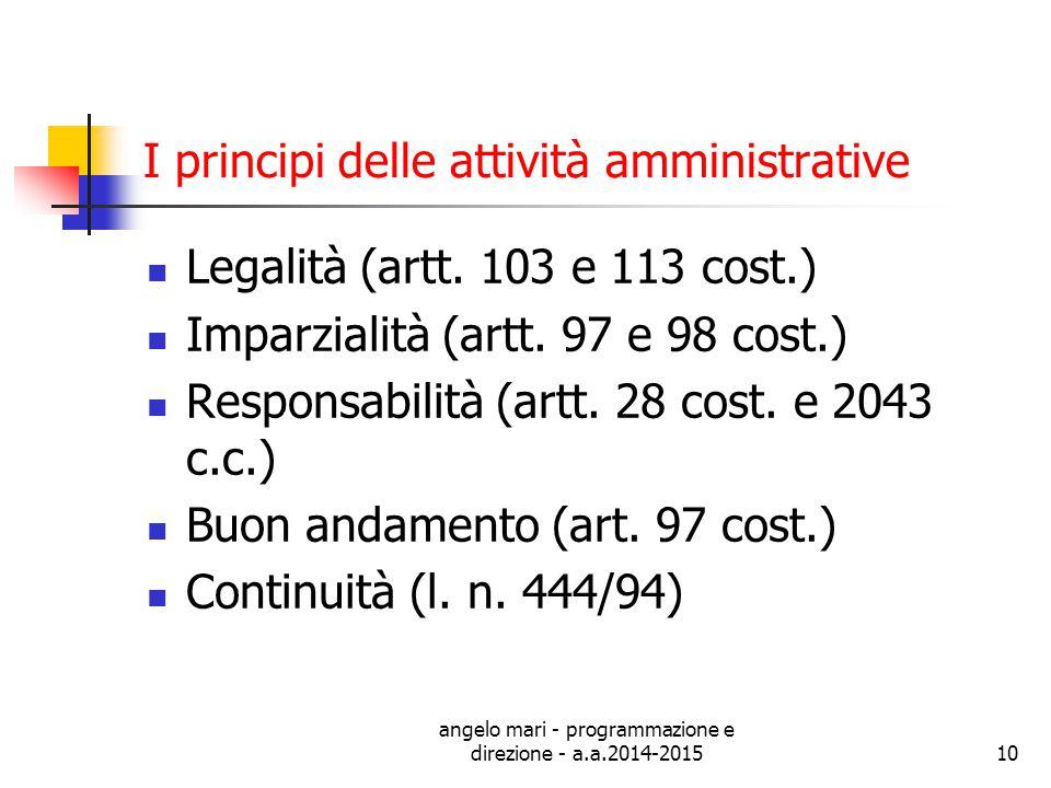 angelo mari - programmazione e direzione - a.a.2014-201510 I principi delle attività amministrative Legalità (artt. 103 e 113 cost.) Imparzialità (art
