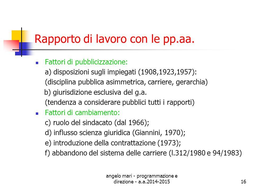 angelo mari - programmazione e direzione - a.a.2014-201516 Rapporto di lavoro con le pp.aa. Fattori di pubblicizzazione: a) disposizioni sugli impiega