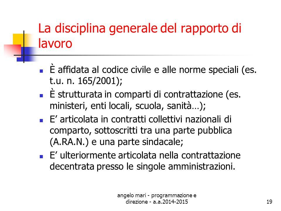 angelo mari - programmazione e direzione - a.a.2014-201519 La disciplina generale del rapporto di lavoro È affidata al codice civile e alle norme spec