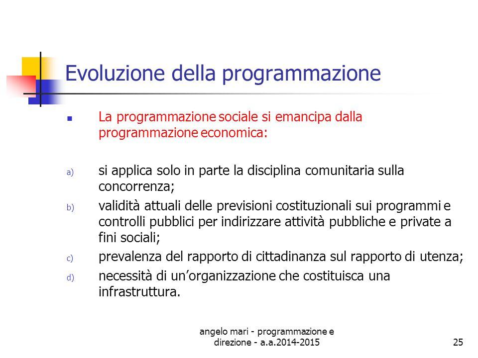 angelo mari - programmazione e direzione - a.a.2014-201525 Evoluzione della programmazione La programmazione sociale si emancipa dalla programmazione