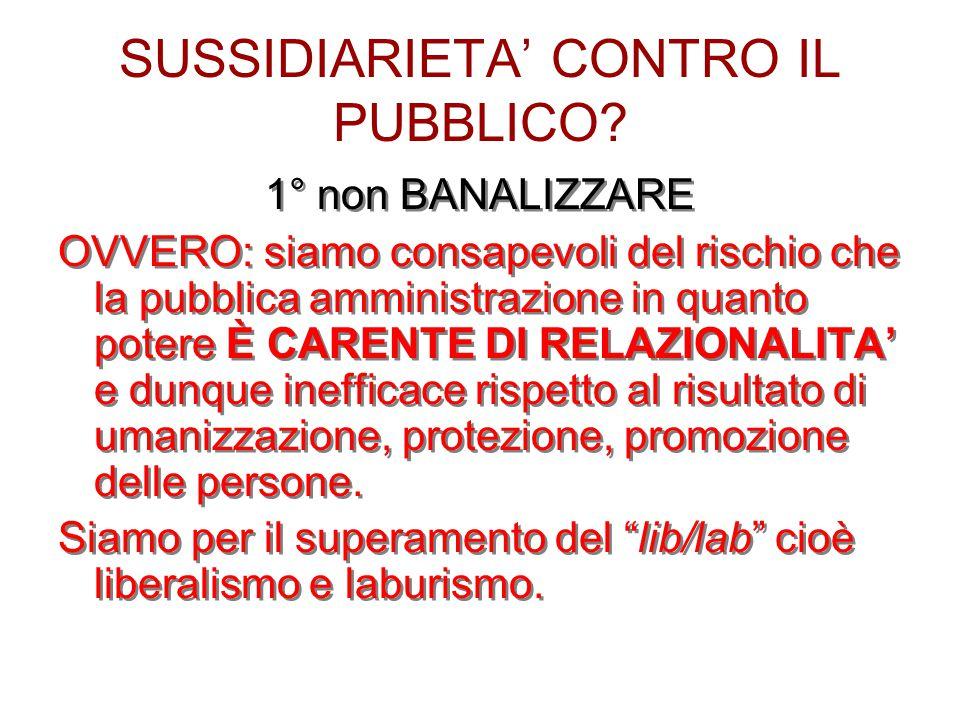 SUSSIDIARIETA' CONTRO IL PUBBLICO.