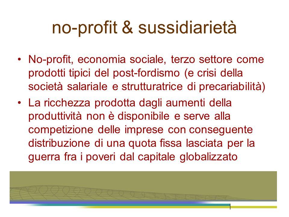 no-profit & sussidiarietà No-profit, economia sociale, terzo settore come prodotti tipici del post-fordismo (e crisi della società salariale e struttu