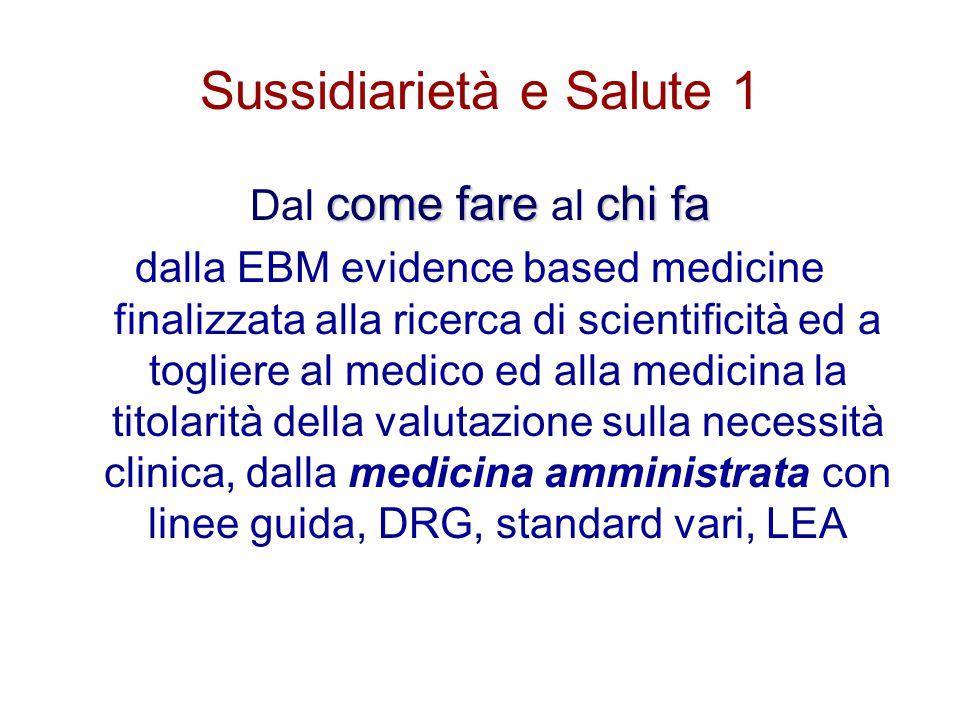 Sussidiarietà e Salute 1 come farechi fa Dal come fare al chi fa dalla EBM evidence based medicine finalizzata alla ricerca di scientificità ed a togl