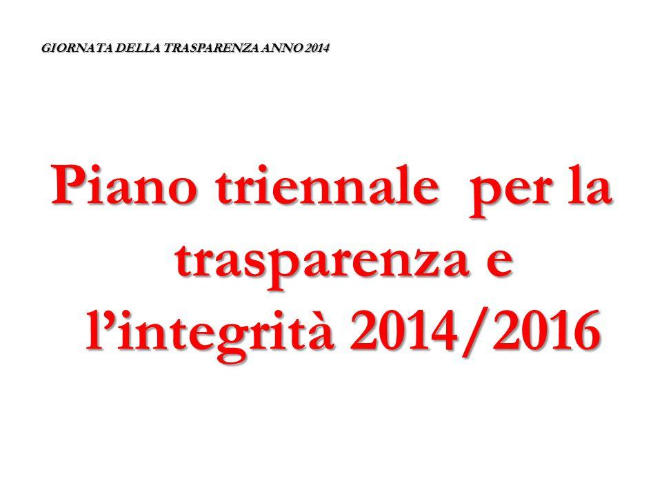 GIORNATA DELLA TRASPARENZA ANNO 2014 Piano per la trasparenza e l'integrità Il D.