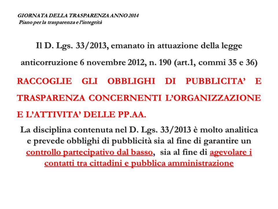 GIORNATA DELLA TRASPARENZA ANNO 2014 Piano per la trasparenza e l'integrità In linea con il nuovo diritto di ACCESSO CIVICO l'art.