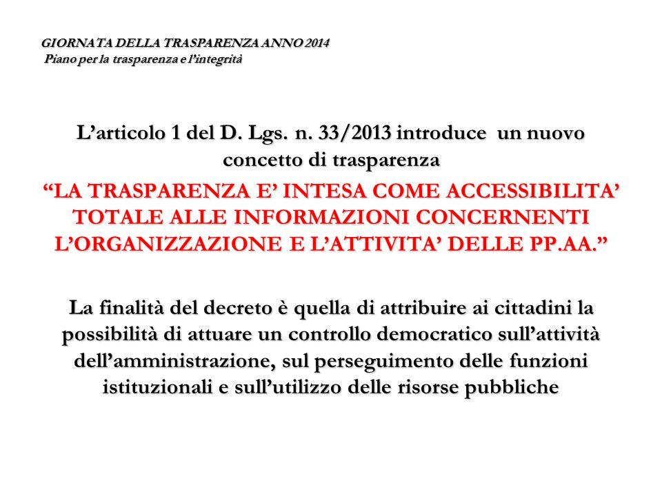 GIORNATA DELLA TRASPARENZA ANNO 2014 Piano per la trasparenza e l'integrità L'esigenza di assicurare l'accessibilità deve tuttavia fare i conti con il contrapposto DIRITTO ALLA RISERVATEZZA di cui al D.Lgs.