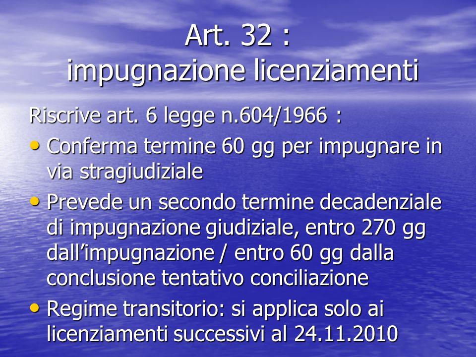 Art. 32 : impugnazione licenziamenti Riscrive art. 6 legge n.604/1966 : Conferma termine 60 gg per impugnare in via stragiudiziale Conferma termine 60