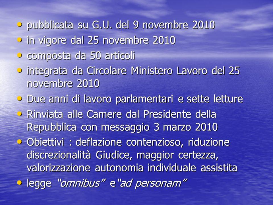 pubblicata su G.U. del 9 novembre 2010 pubblicata su G.U. del 9 novembre 2010 in vigore dal 25 novembre 2010 in vigore dal 25 novembre 2010 composta d