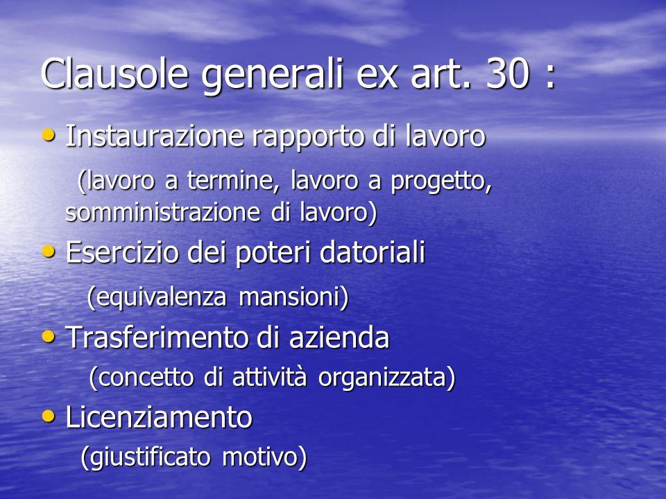 Clausole generali ex art. 30 : Instaurazione rapporto di lavoro Instaurazione rapporto di lavoro (lavoro a termine, lavoro a progetto, somministrazion