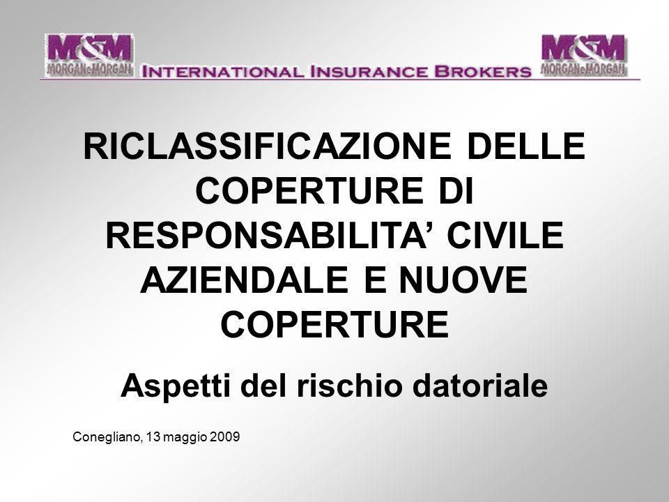 RICLASSIFICAZIONE DELLE COPERTURE DI RESPONSABILITA' CIVILE AZIENDALE E NUOVE COPERTURE Aspetti del rischio datoriale Conegliano, 13 maggio 2009
