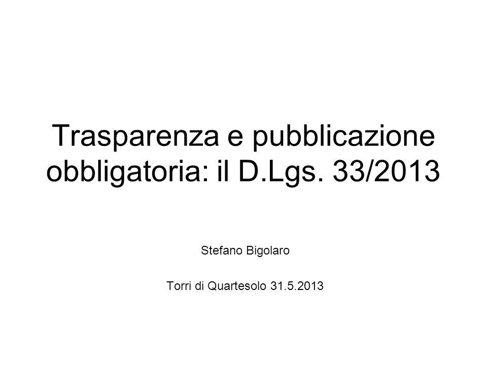 Trasparenza e pubblicazione obbligatoria: il D.Lgs.