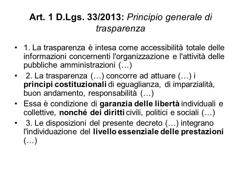 Art.1 D.Lgs. 33/2013: Principio generale di trasparenza 1.