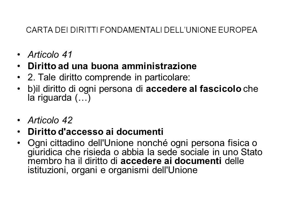 CARTA DEI DIRITTI FONDAMENTALI DELL'UNIONE EUROPEA Articolo 41 Diritto ad una buona amministrazione 2.