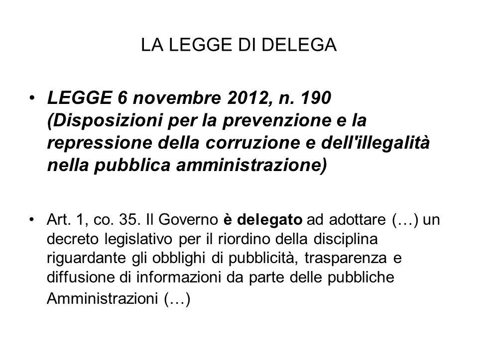 LA LEGGE DI DELEGA LEGGE 6 novembre 2012, n.