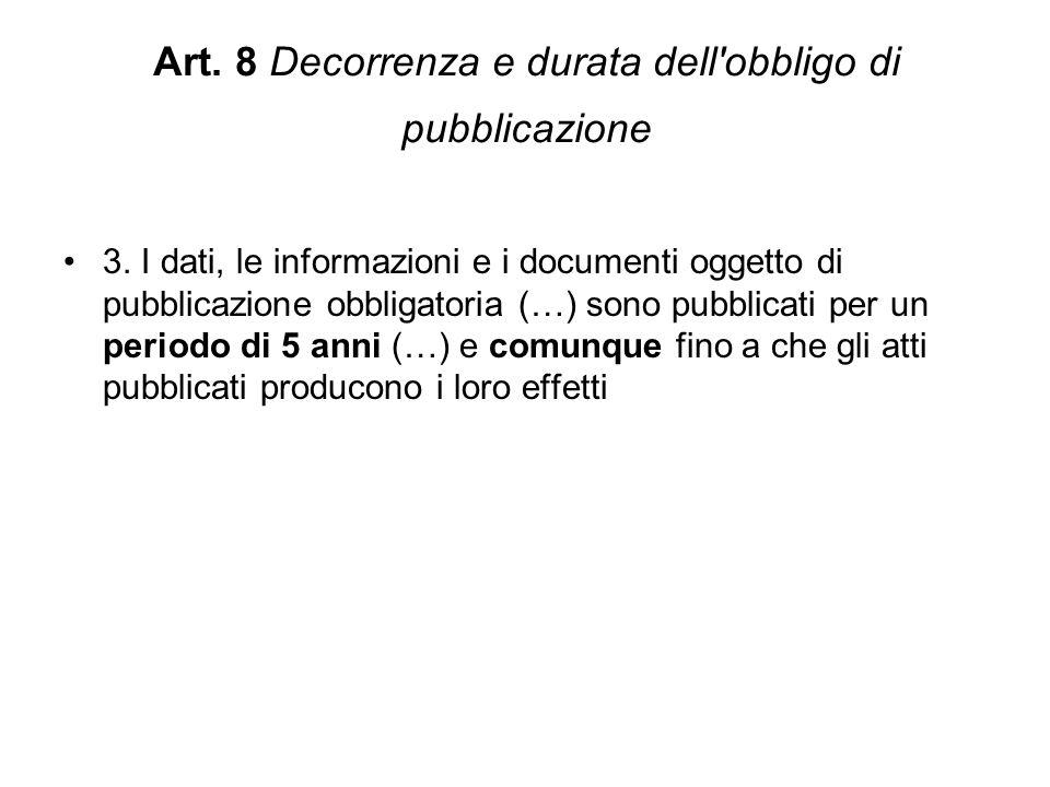 Art.8 Decorrenza e durata dell obbligo di pubblicazione 3.