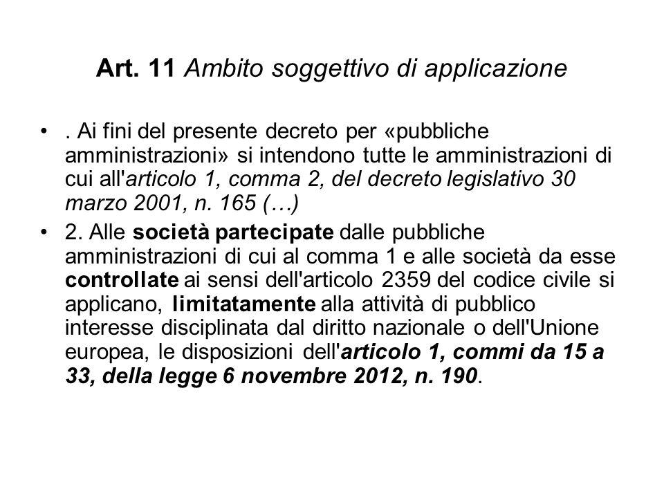 Art.11 Ambito soggettivo di applicazione.