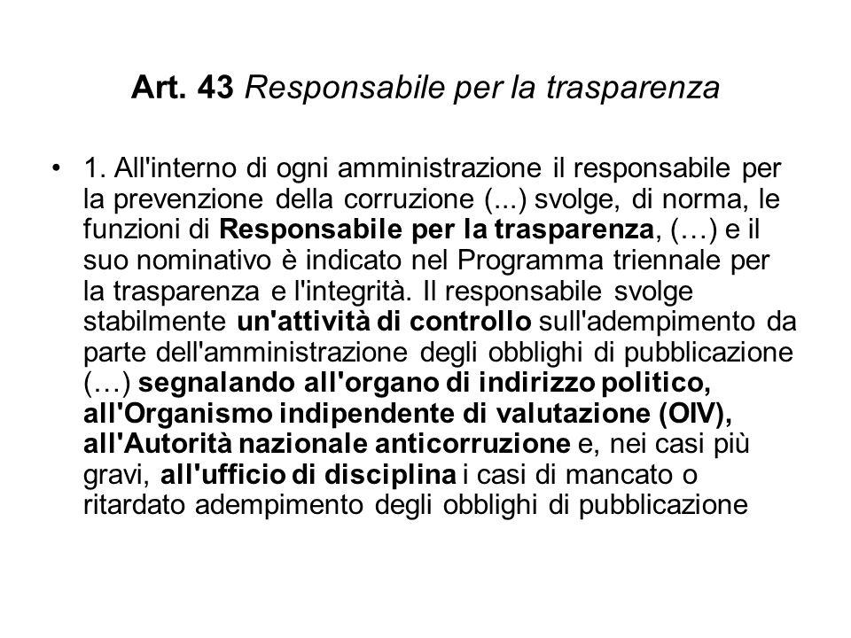 Art.43 Responsabile per la trasparenza 1.