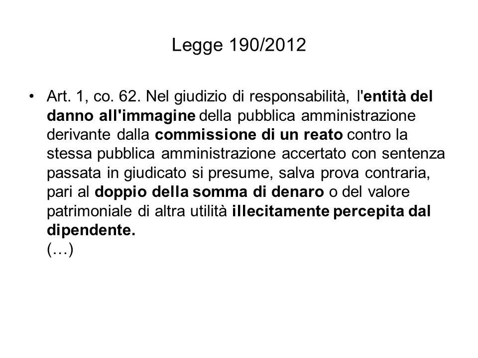 Legge 190/2012 Art.1, co. 75. Al codice penale sono apportate le seguenti modificazioni: Art.