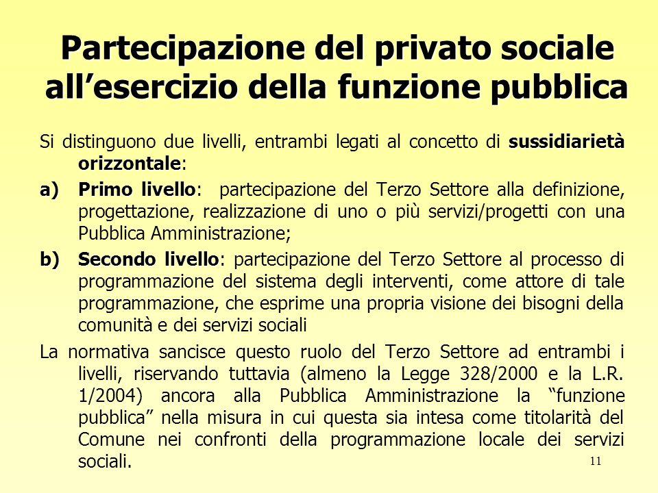 12 In realtà, modalità di rapporto innovative fondate sul principio di sussidiarietà programmazione del sistema dei servizi.