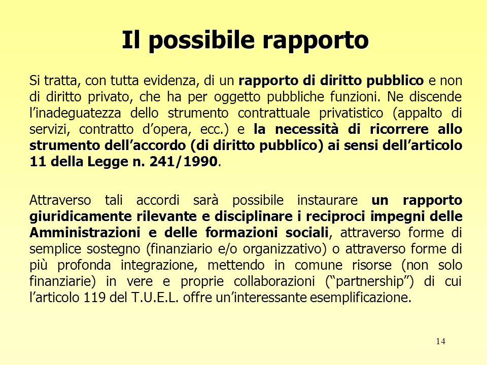 14 Il possibile rapporto rapporto di diritto pubblico la necessità di ricorrere allo strumento dell'accordo (di diritto pubblico) ai sensi dell'articolo 11 della Legge n.