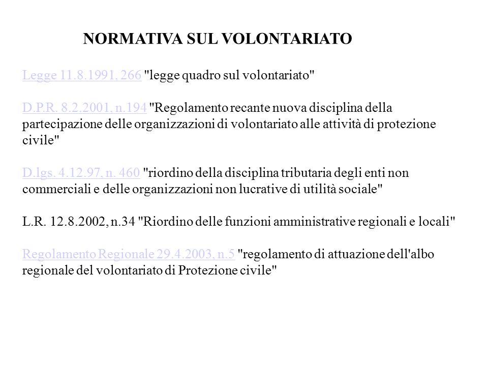 NORMATIVA SUL VOLONTARIATO Legge 11.8.1991, 266Legge 11.8.1991, 266 legge quadro sul volontariato D.P.R.