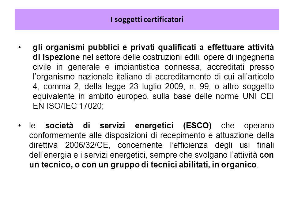 I soggetti certificatori gli organismi pubblici e privati qualificati a effettuare attività di ispezione nel settore delle costruzioni edili, opere di
