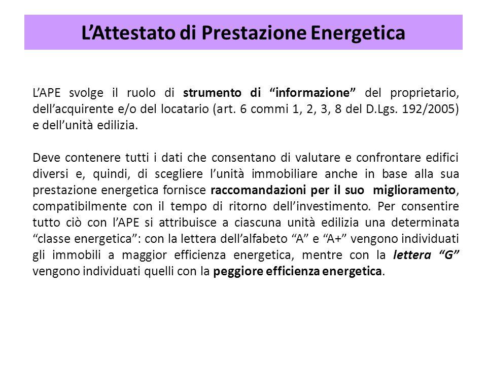 """L'APE svolge il ruolo di strumento di """"informazione"""" del proprietario, dell'acquirente e/o del locatario (art. 6 commi 1, 2, 3, 8 del D.Lgs. 192/2005)"""
