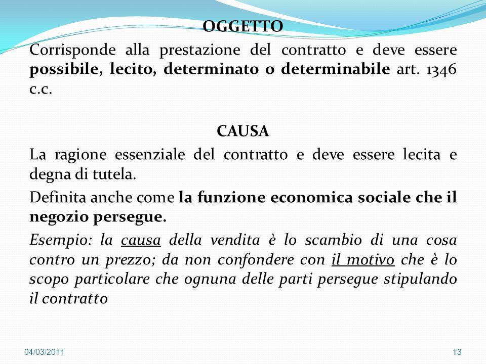 OGGETTO Corrisponde alla prestazione del contratto e deve essere possibile, lecito, determinato o determinabile art. 1346 c.c. CAUSA La ragione essenz