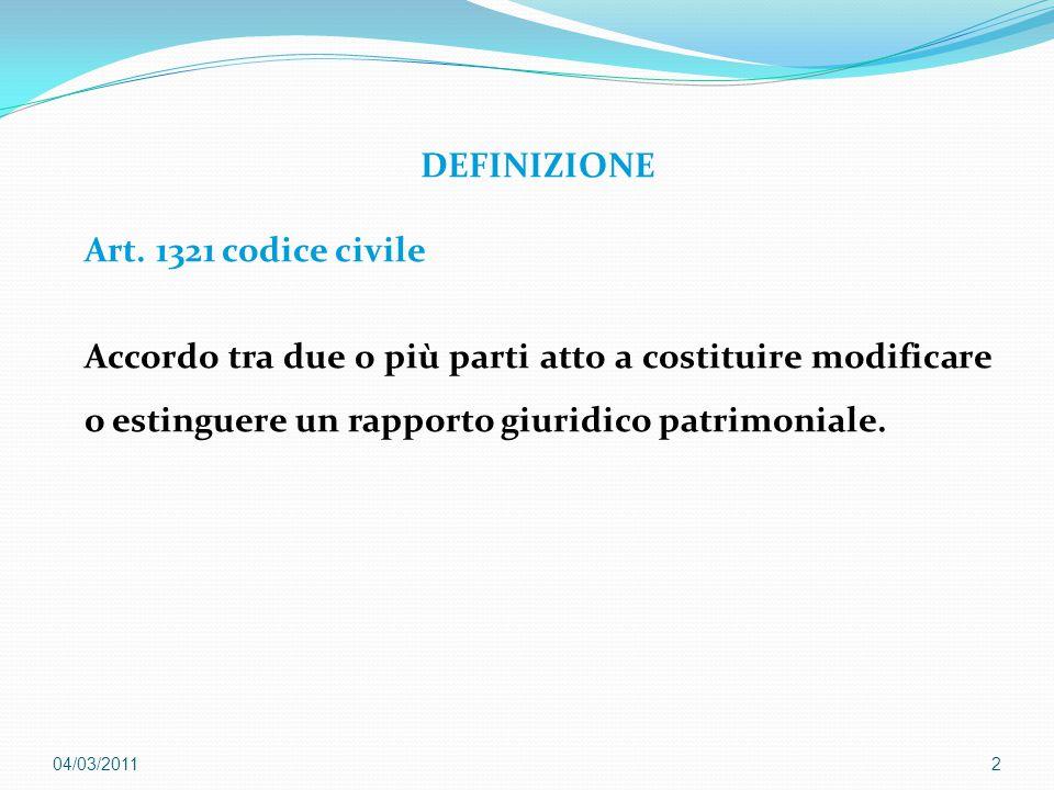 DEFINIZIONE Art. 1321 codice civile Accordo tra due o più parti atto a costituire modificare o estinguere un rapporto giuridico patrimoniale. 204/03/2
