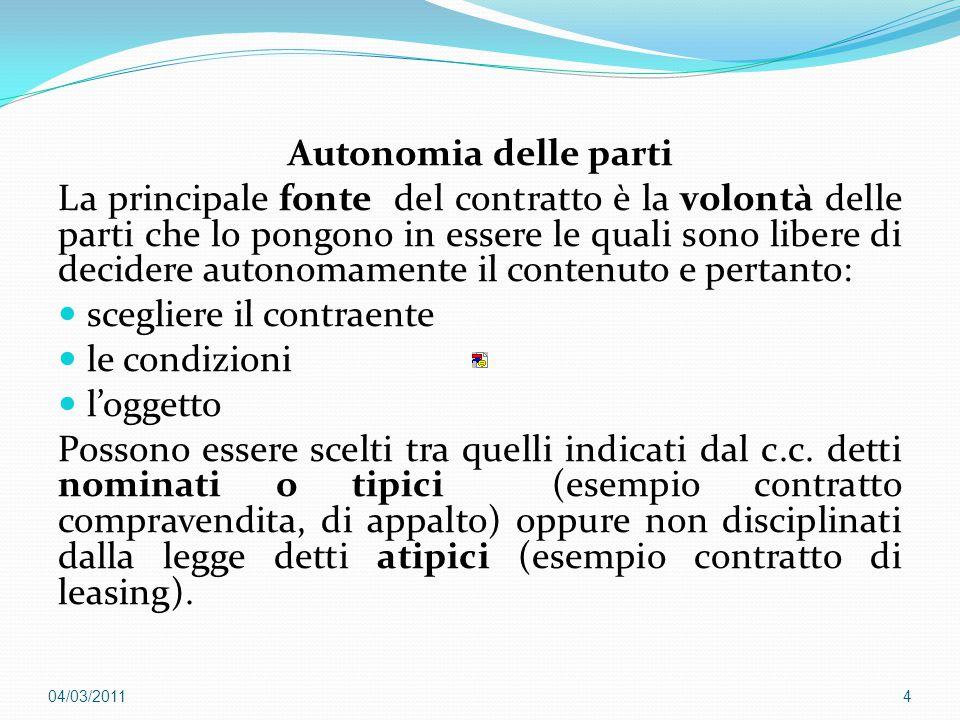 Autonomia delle parti La principale fonte del contratto è la volontà delle parti che lo pongono in essere le quali sono libere di decidere autonomamen