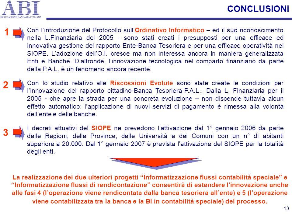 13 CONCLUSIONI Con l'introduzione del Protocollo sull'Ordinativo Informatico – ed il suo riconoscimento nella L.Finanziaria del 2005 - sono stati crea