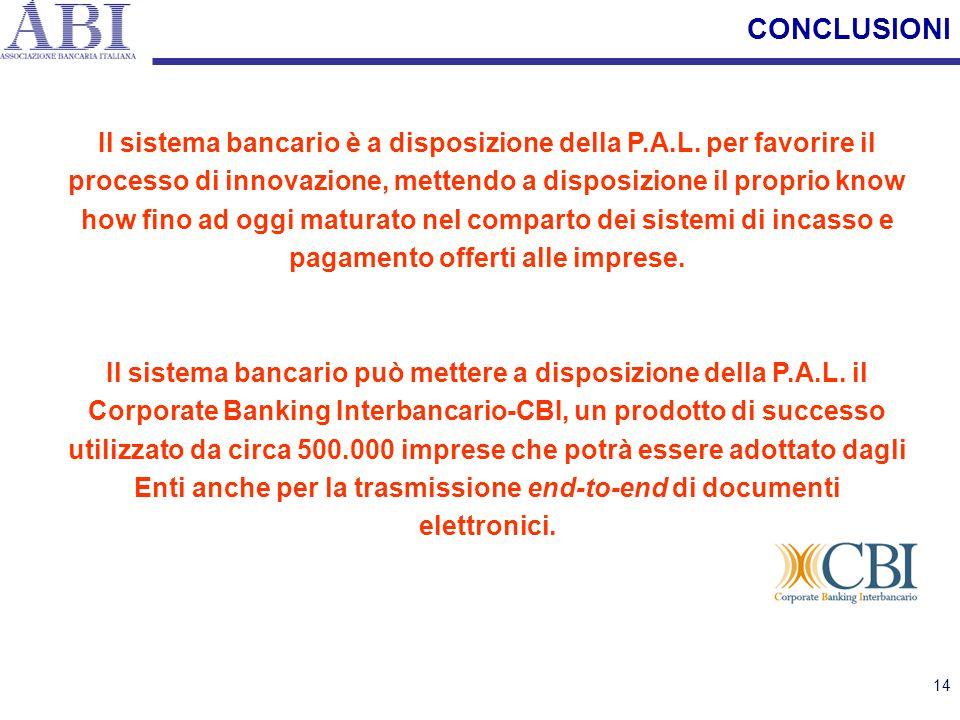 14 CONCLUSIONI Il sistema bancario è a disposizione della P.A.L. per favorire il processo di innovazione, mettendo a disposizione il proprio know how