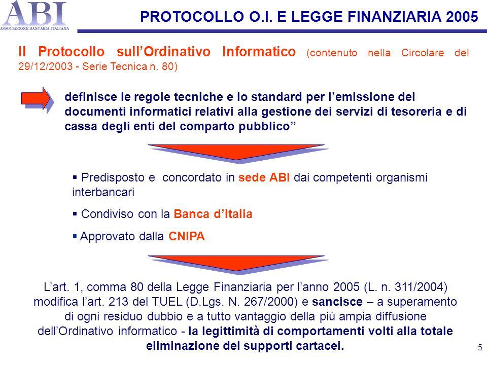 5 Il Protocollo sull'Ordinativo Informatico (contenuto nella Circolare del 29/12/2003 - Serie Tecnica n. 80)  Predisposto e concordato in sede ABI da
