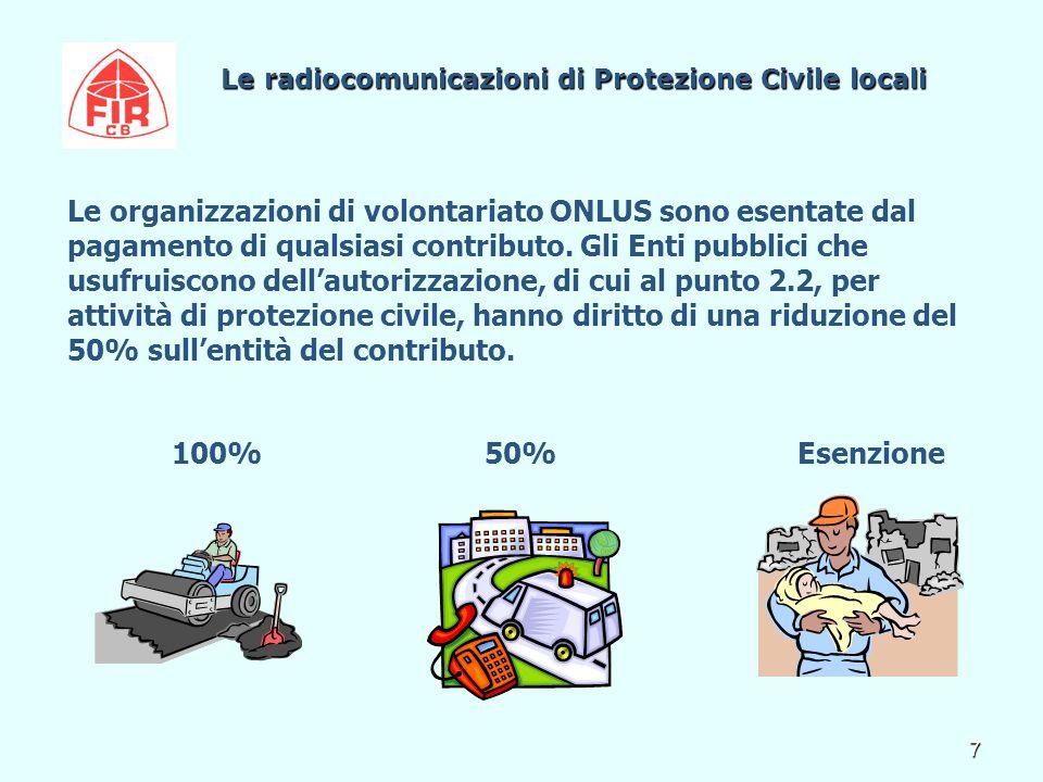 7 Le radiocomunicazioni di Protezione Civile locali Le radiocomunicazioni di Protezione Civile locali Le organizzazioni di volontariato ONLUS sono esentate dal pagamento di qualsiasi contributo.