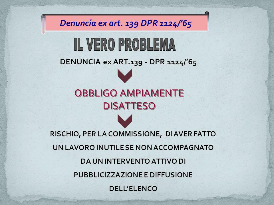 DENUNCIA ex ART.139 - DPR 1124/'65 OBBLIGO AMPIAMENTE DISATTESO RISCHIO, PER LA COMMISSIONE, DI AVER FATTO UN LAVORO INUTILE SE NON ACCOMPAGNATO DA UN INTERVENTO ATTIVO DI PUBBLICIZZAZIONE E DIFFUSIONE DELL'ELENCO Denuncia ex art.