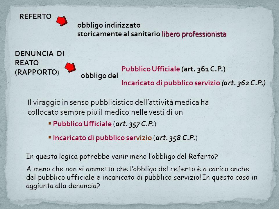 REFERTO obbligo indirizzato libero professionista storicamente al sanitario libero professionista DENUNCIA DI REATO (RAPPORTO ) obbligo del Pubblico Ufficiale (art.