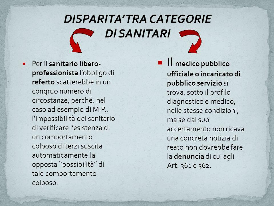 DISPARITA' TRA CATEGORIE DI SANITARI  Per il sanitario libero- professionista l'obbligo di referto scatterebbe in un congruo numero di circostanze, p