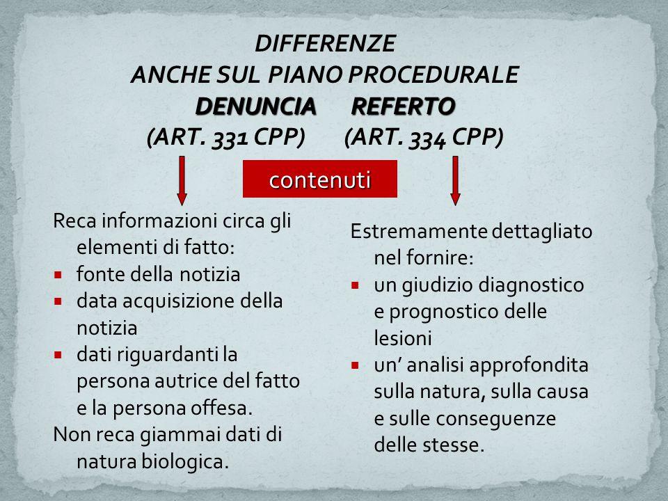 DENUNCIA REFERTO DIFFERENZE ANCHE SUL PIANO PROCEDURALE DENUNCIA REFERTO (ART. 331 CPP) (ART. 334 CPP) contenuti Reca informazioni circa gli elementi