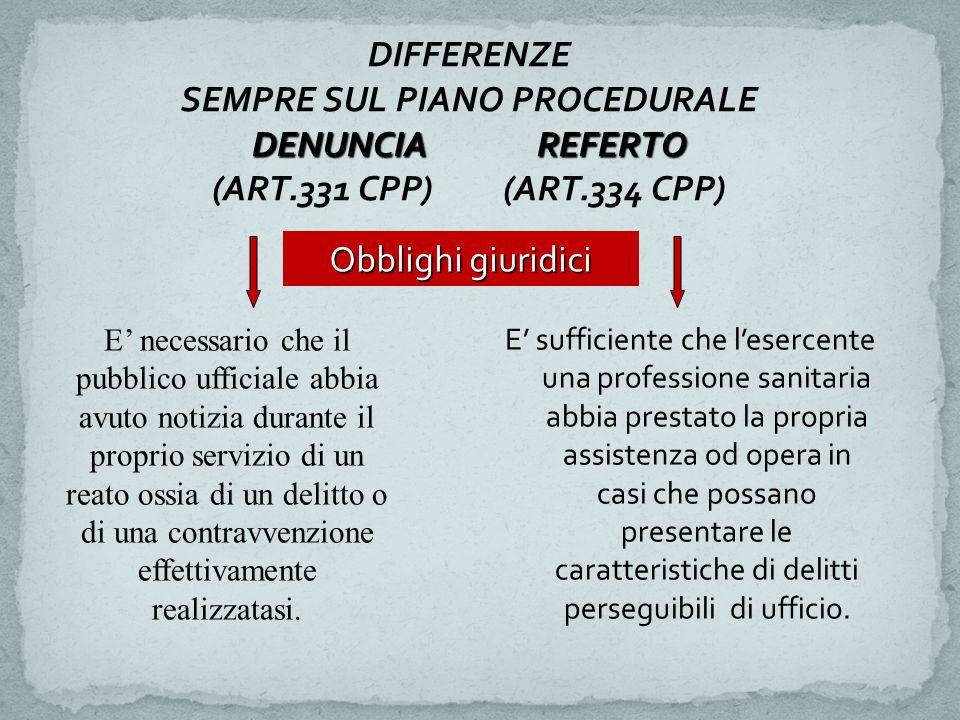 DENUNCIA REFERTO DIFFERENZE SEMPRE SUL PIANO PROCEDURALE DENUNCIA REFERTO (ART.331 CPP) (ART.334 CPP) Obblighi giuridici E' necessario che il pubblico