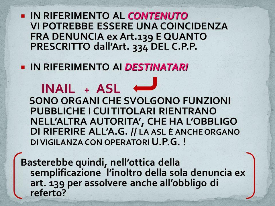 CONTENUTO  IN RIFERIMENTO AL CONTENUTO VI POTREBBE ESSERE UNA COINCIDENZA FRA DENUNCIA ex Art.139 E QUANTO PRESCRITTO dall'Art. 334 DEL C.P.P. DESTIN