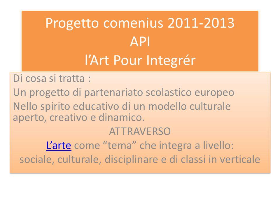 Progetto comenius 2011-2013 API l'Art Pour Integrér Di cosa si tratta : Un progetto di partenariato scolastico europeo Nello spirito educativo di un modello culturale aperto, creativo e dinamico.