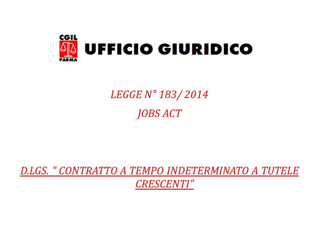 LEGGE N° 183/ 2014 JOBS ACT D.LGS.