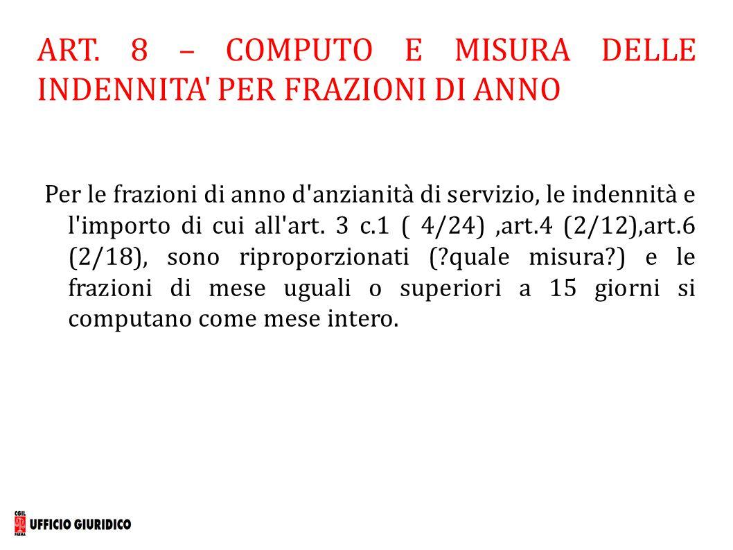 ART. 8 – COMPUTO E MISURA DELLE INDENNITA' PER FRAZIONI DI ANNO Per le frazioni di anno d'anzianità di servizio, le indennità e l'importo di cui all'a