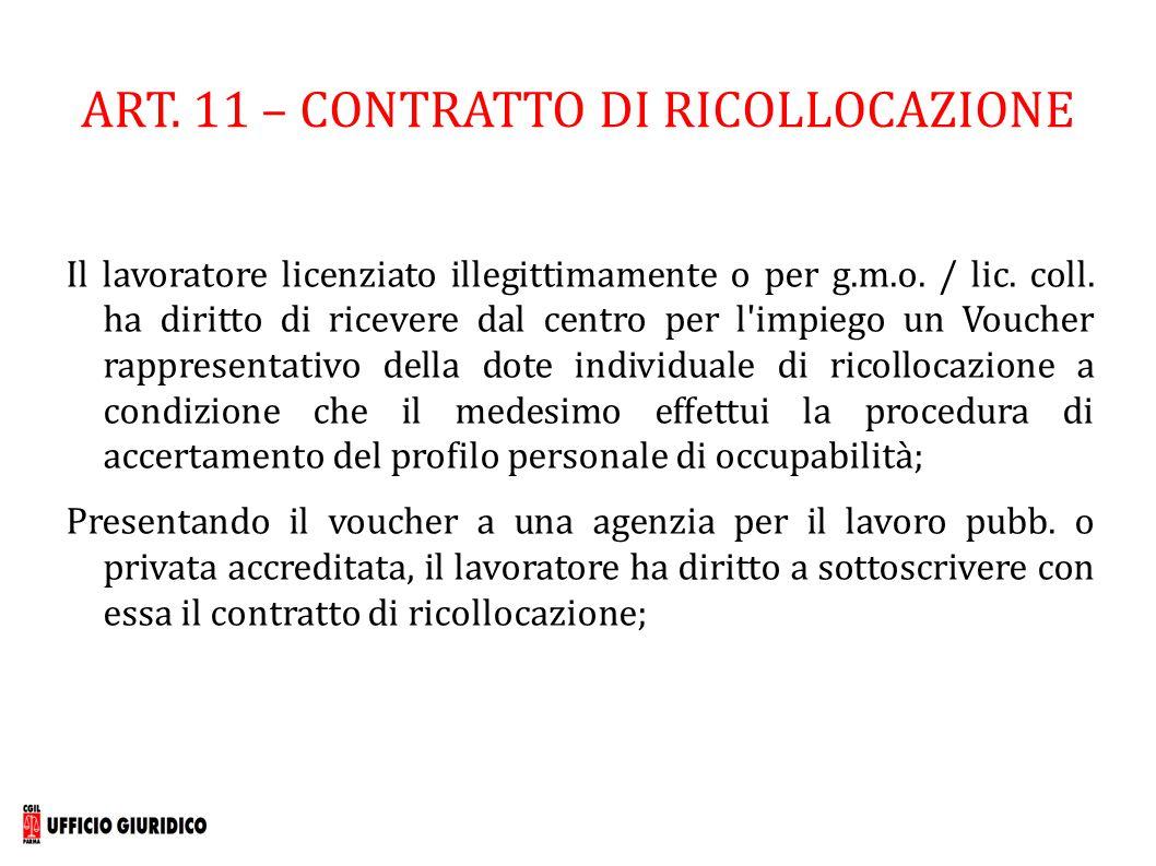 ART. 11 – CONTRATTO DI RICOLLOCAZIONE Il lavoratore licenziato illegittimamente o per g.m.o. / lic. coll. ha diritto di ricevere dal centro per l'impi