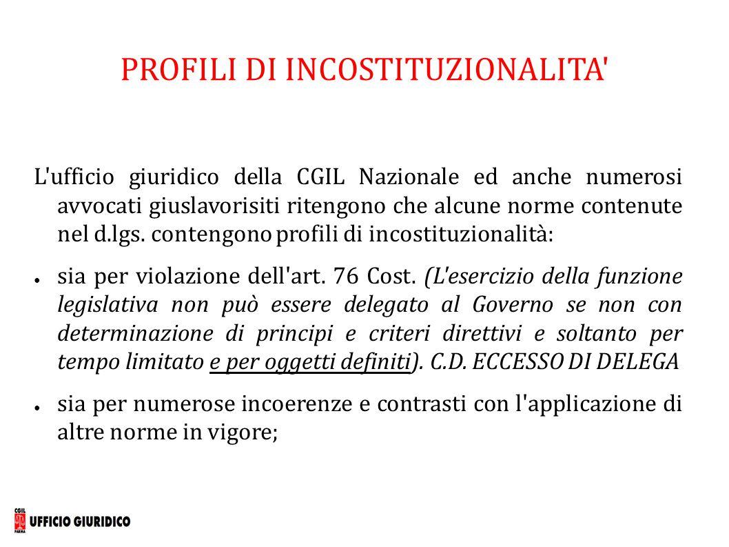 ART.9 – PICCOLE IMPRESE E ORGANIZZAZIONI DI TENDENZA Per le aziende sotto i 15 dip.