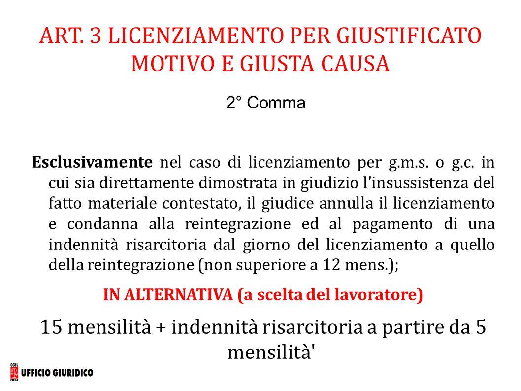 ART. 3 LICENZIAMENTO PER GIUSTIFICATO MOTIVO E GIUSTA CAUSA 2° Comma Esclusivamente nel caso di licenziamento per g.m.s. o g.c. in cui sia direttament