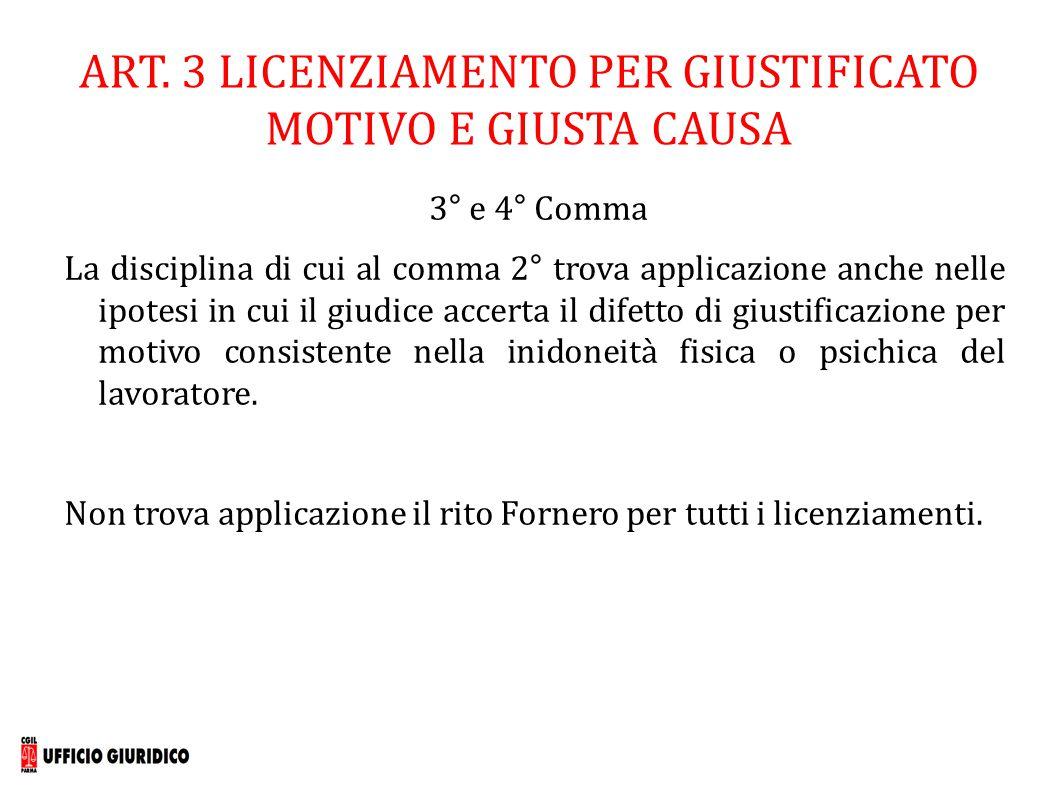 ART. 3 LICENZIAMENTO PER GIUSTIFICATO MOTIVO E GIUSTA CAUSA 3° e 4° Comma La disciplina di cui al comma 2° trova applicazione anche nelle ipotesi in c
