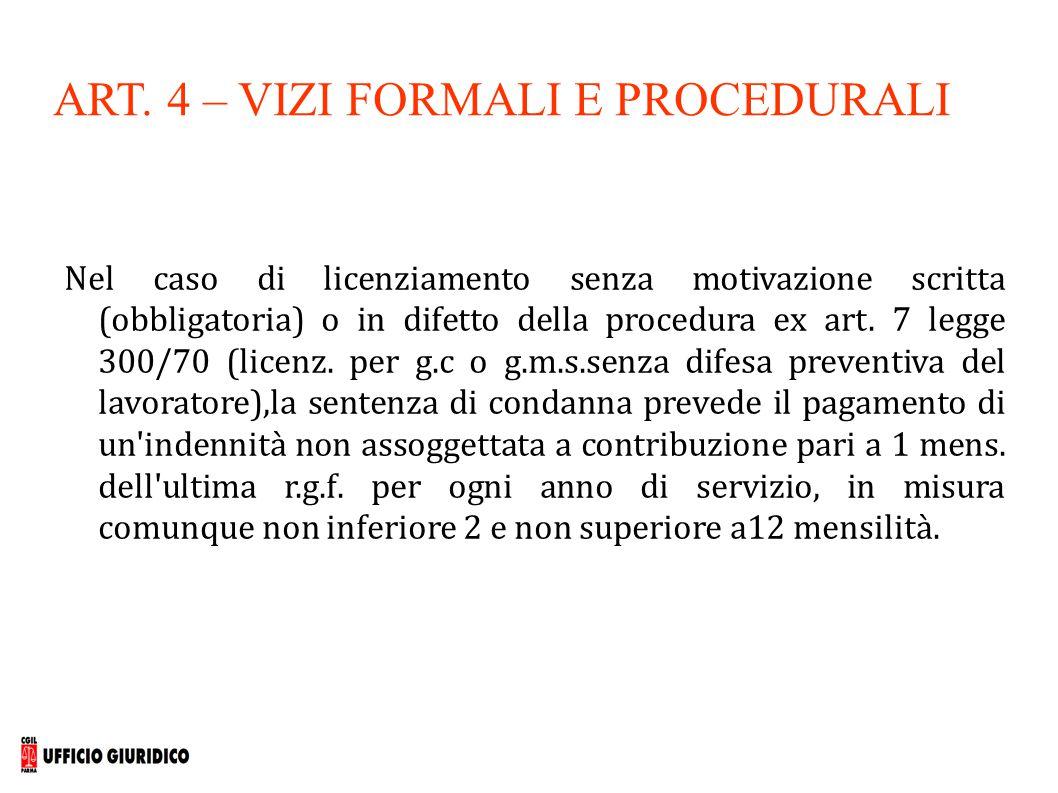 ART. 4 – VIZI FORMALI E PROCEDURALI Nel caso di licenziamento senza motivazione scritta (obbligatoria) o in difetto della procedura ex art. 7 legge 30